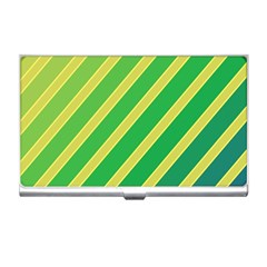 Green And Yellow Lines Business Card Holders by Valentinaart