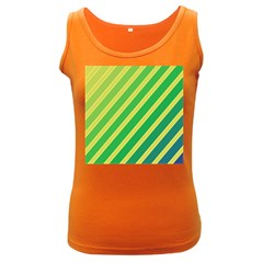 Green And Yellow Lines Women s Dark Tank Top