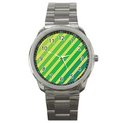 Green And Yellow Lines Sport Metal Watch by Valentinaart