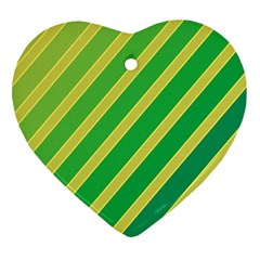 Green And Yellow Lines Heart Ornament (2 Sides) by Valentinaart