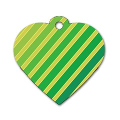 Green And Yellow Lines Dog Tag Heart (two Sides) by Valentinaart