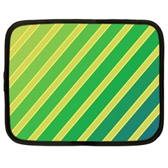 Green And Yellow Lines Netbook Case (large) by Valentinaart
