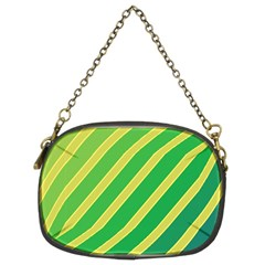 Green And Yellow Lines Chain Purses (two Sides)  by Valentinaart