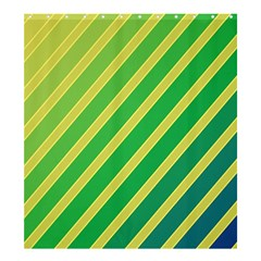 Green And Yellow Lines Shower Curtain 66  X 72  (large)  by Valentinaart