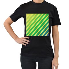 Green And Yellow Lines Women s T Shirt (black) by Valentinaart