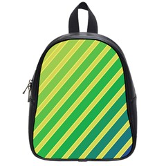 Green And Yellow Lines School Bags (small)  by Valentinaart