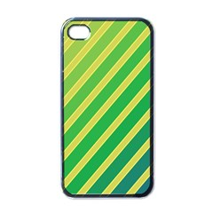 Green And Yellow Lines Apple Iphone 4 Case (black) by Valentinaart