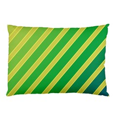 Green And Yellow Lines Pillow Case (two Sides) by Valentinaart