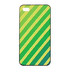 Green And Yellow Lines Apple Iphone 4/4s Seamless Case (black) by Valentinaart