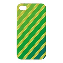 Green And Yellow Lines Apple Iphone 4/4s Hardshell Case by Valentinaart