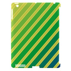 Green And Yellow Lines Apple Ipad 3/4 Hardshell Case (compatible With Smart Cover) by Valentinaart