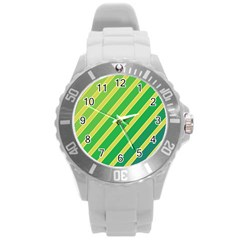 Green And Yellow Lines Round Plastic Sport Watch (l) by Valentinaart