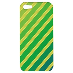 Green And Yellow Lines Apple Iphone 5 Hardshell Case by Valentinaart