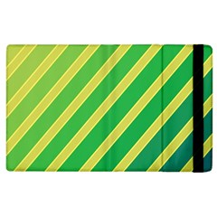 Green And Yellow Lines Apple Ipad 2 Flip Case by Valentinaart
