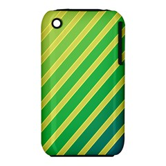 Green And Yellow Lines Apple Iphone 3g/3gs Hardshell Case (pc+silicone) by Valentinaart