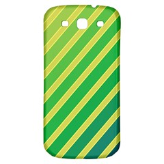 Green And Yellow Lines Samsung Galaxy S3 S Iii Classic Hardshell Back Case by Valentinaart
