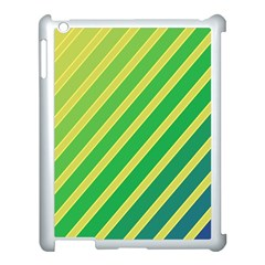 Green And Yellow Lines Apple Ipad 3/4 Case (white) by Valentinaart