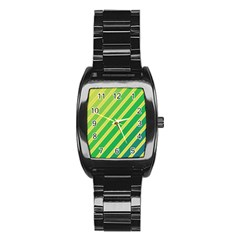 Green And Yellow Lines Stainless Steel Barrel Watch by Valentinaart