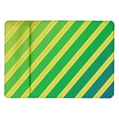 Green And Yellow Lines Samsung Galaxy Tab 10 1  P7500 Flip Case by Valentinaart