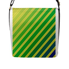 Green And Yellow Lines Flap Messenger Bag (l)  by Valentinaart