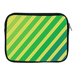 Green And Yellow Lines Apple Ipad 2/3/4 Zipper Cases by Valentinaart