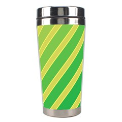 Green And Yellow Lines Stainless Steel Travel Tumblers by Valentinaart