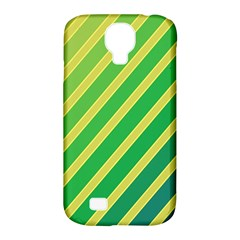 Green And Yellow Lines Samsung Galaxy S4 Classic Hardshell Case (pc+silicone) by Valentinaart