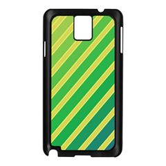 Green And Yellow Lines Samsung Galaxy Note 3 N9005 Case (black) by Valentinaart