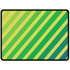 Green And Yellow Lines Double Sided Fleece Blanket (large)  by Valentinaart