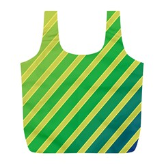 Green And Yellow Lines Full Print Recycle Bags (l)  by Valentinaart