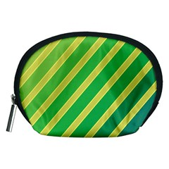 Green And Yellow Lines Accessory Pouches (medium)  by Valentinaart