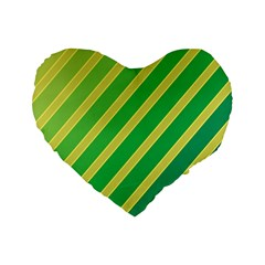 Green And Yellow Lines Standard 16  Premium Flano Heart Shape Cushions by Valentinaart