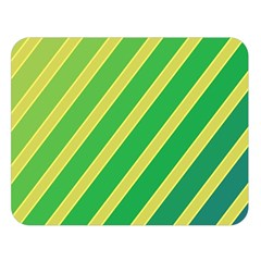 Green And Yellow Lines Double Sided Flano Blanket (large)  by Valentinaart