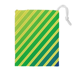 Green And Yellow Lines Drawstring Pouches (extra Large)