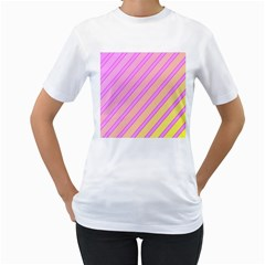 Pink And Yellow Elegant Design Women s T-shirt (white) (two Sided) by Valentinaart