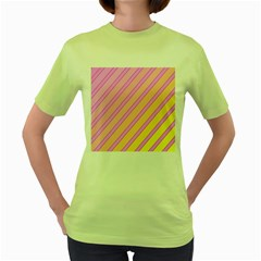 Pink And Yellow Elegant Design Women s Green T Shirt by Valentinaart