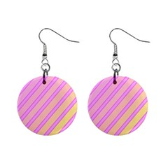 Pink And Yellow Elegant Design Mini Button Earrings by Valentinaart