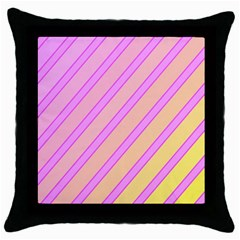 Pink And Yellow Elegant Design Throw Pillow Case (black)