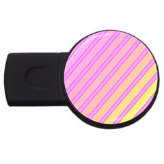 Pink And Yellow Elegant Design Usb Flash Drive Round (2 Gb)