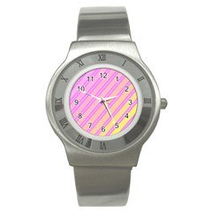 Pink And Yellow Elegant Design Stainless Steel Watch by Valentinaart