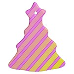 Pink and yellow elegant design Christmas Tree Ornament (2 Sides) Back