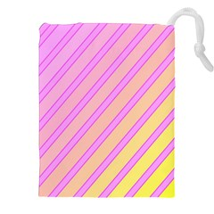Pink And Yellow Elegant Design Drawstring Pouches (xxl) by Valentinaart