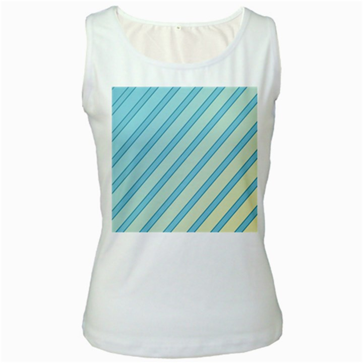 Blue elegant lines Women s White Tank Top