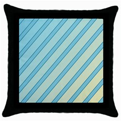 Blue Elegant Lines Throw Pillow Case (black) by Valentinaart