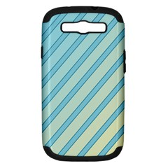 Blue Elegant Lines Samsung Galaxy S Iii Hardshell Case (pc+silicone) by Valentinaart