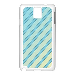 Blue Elegant Lines Samsung Galaxy Note 3 N9005 Case (white) by Valentinaart