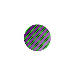 Purple And Green Lines 1  Mini Buttons by Valentinaart