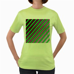 Purple And Green Lines Women s Green T Shirt by Valentinaart