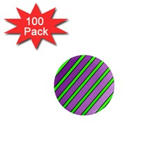 Purple And Green Lines 1  Mini Magnets (100 Pack)  by Valentinaart