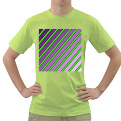 Purple And Green Lines Green T Shirt